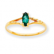 10k Polished Geniune Emerald Birthstone Ring