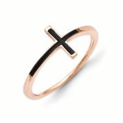 14k Rose Gold Antiqued Sideways Cross Ring