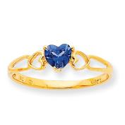 10k Polished Geniune Blue Topaz Birthstone Ring