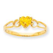 10k Polished Geniune Citrine Birthstone Ring