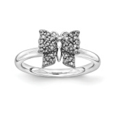Sterling Silver & Black-plated Stackable Expressions Diamond Butterfly Ring Size-8