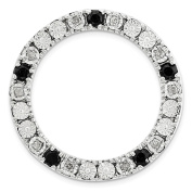 Sterling Silver Stack Exp Medium Diamond and Black Sapphire Chain Slide Size-