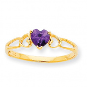10k Polished Geniune Amethyst Birthstone Ring