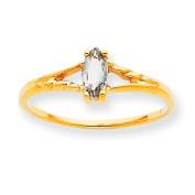 10k Polished Geniune White Topaz Birthstone Ring
