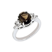 Sterling Silver Diamond & Smoky Quartz Ring