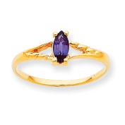 10k Polished Geniune Rhodolite Garnet Birthstone Ring