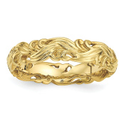 Sterling Silver Stackable Expressions Gold-plated Carved Band Size-9