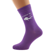 I'd Rather be Scuba Diving with Diver Image Printed in White on Ladies PURPLE Socks Great Mothers Day Present