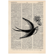 Freedom Swallow Dictionary Word Art Print OOAK, Quirky, Alternative Vintage