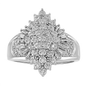 Chetan Collection 0.25 Carat T.W. Diamond Sterling Silver 925 Designer Cluster Ring