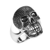 Sterling Silver Glittering Skull Ring
