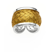 5th & Main Sterling Silver and 14kt Gold-Plated Woven Basket Weave Ring