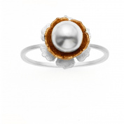 5th & Main Sterling Silver and 14kt Rose Gold-Plated Rose Pearl Flower Ring