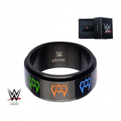 WWE Stainless Steel Black PVD Plated Ultimate Warrior Spinner Ring, Size 11