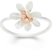 5th & Main Sterling Silver and 14kt Rose Gold-Plated Rose 7-Petal Flower Ring