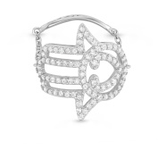 5th & Main Sterling Silver Hamsa Hand Chain Ring with CZ Stones