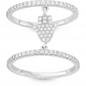 5th & Main Sterling Silver Double Layered Hamsa Hand Ring with CZ Stones