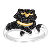 Duet 1/5 ct Black Diamond Cat Ring in Sterling Silver & 14kt Gold