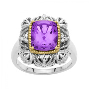 Duet 2 7/8 ct Vintage Amethyst Ring with Diamonds in Sterling Silver and 14kt Gold