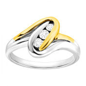 Duet 1/5 ct Diamond Trio Ring in Sterling Silver & 14kt Gold
