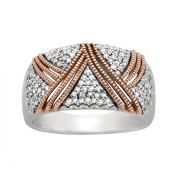 1/3 ct Diamond Pav Ring in Sterling Silver and 14kt Rose Gold