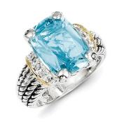 Sterling Silver Diamond & 8.10Sky Blue Topaz Ring Size 7 #8268