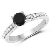 1.54 ct. Genuine Black Diamond and White Diamond Sterling Silver Ring