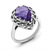 Sterling Silver Checker-Cut Amethyst Ring
