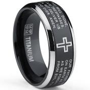 Two Tone Black Titanium Lords Prayer Ring Band