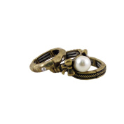 Stackable Texture Ring Set Antique Gold