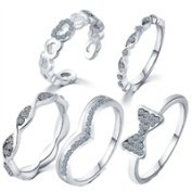 Jewellery Collection 5 Piece Ring Set Pave Bow & Bands - Silver