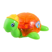 Cell Battery Powered Pull Runing Plastic Tortoise Toy Orange Green