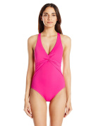 Echo Design womens Solid Twist Front Slimming One Piece Swimsuit One-Piece Swimsuit - pink -