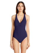 Echo Design womens Solid Twist Front Slimming One Piece Swimsuit One-Piece Swimsuit - blue -
