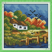 Chreey Four Seasons Scenery Series - Autumn Cross Stitch Fashion Crafts Home Art Decoration [16x16cm]