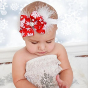 Kingken Cute Bow Tie Headband Snowflake Printing Headgear for Baby Girls
