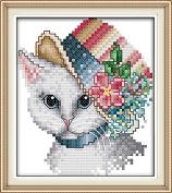 Chreey Noble Cat Series - Cross Stitch Fashion Crafts Home Art Decoration [14x15cm]