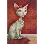 Broadroot White Cat 5D Diamond DIY Painting Kit Home Decor Craft 30X25cm