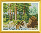 Chreey Animal World Series - The Happiness of the Forest (brown bear) Cross Stitch Fashion Crafts Home Art Decoration [50x41cm]