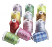 Simthreads 12 Variegated Colours Polyester Embroidery Machine Thread, 1,000M/spool