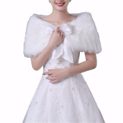 DWE Wedding Shawl, White Plush Faux Fur Women Wedding Wraps Jackets Bridal Coat Shaw