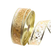 OULII Swirl Star Musical Note Gift Wrap Ribbon Gold Glitter Roll Ribbon for Christmas Wedding Party Home Decorations