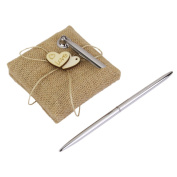 Rcdxing Burlap Heart Embellished Wedding Reception Pen with Holder