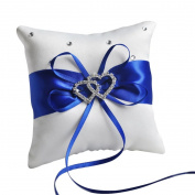 E-Goal 10x10cm Double Heart Crystal Rhinestone Blue Band Satin Mini Wedding Ring Bearer