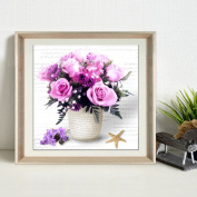 Moresave Purple Rose Flower 5D Diamond Painting Cross Stitch Kits Wall Painting