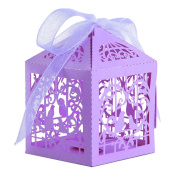 50pcs Purple Candy Gift Favour Box Precise Cut Sweet Love Birds Wedding Birthday Party Baby Shower Event with Ribbons by Trimming Shop
