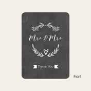 Mrs & Mrs Floral Chalkboard - Wedding Thank You Cards