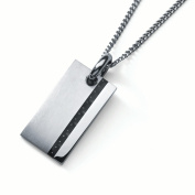 Men's Stainless Steel Carbon Fibre Accent Dog Tag Pendant With 60cm Curb Chain