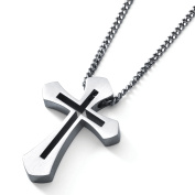 Men's Stainless Steel Cross Pendant with Centre Cutout Accent, 60cm