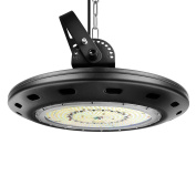 YWTESCH 150W UFO LED High Bay Light,5000K Daylight White,16500LM,120°Beam Angle,Waterproof,Industrial Chandelier,Warehouse Lamp,Super Bright Commercial Lighting